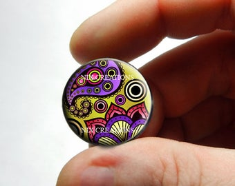 Glass Cabochon - Art Deco Floral Design 15 - for Jewelry and Pendant Making