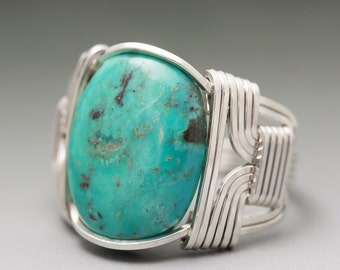Turquoise Sterling Silver Wire Wrapped Gemstone Cabochon Ring - Made to Order and Ships Fast!