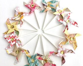 Aztec in the City Sequined Pinwheels. Pinwheel Cupcake Toppers. Paper Pinwheels. Pinwheel Birthday. Summer Party decorations. Pinwheel Party