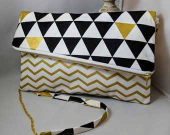 Modern Triangle and Chevron Fold Over Clutch