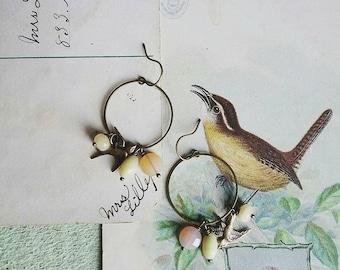 Boucles d'oreilles perles, boucles d'oreilles en laiton Style Vintage Boho de couleur sorbet Vintage de boucles d'oreilles, perles en laiton boucles d'oreilles oiseau, oiseau