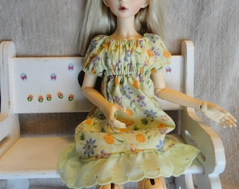 MSD BJD  Chemise Dress and Bloomers Green Floral