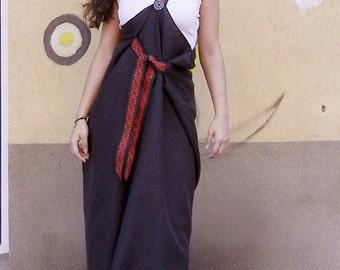 Lagenlook Boho Pinafore Dress, Maxi Abaya Apron, Cocoon Pinafore Dress, Long Oversized Dress, Boho Chic Ample Pinafore, Fall Dress Dress