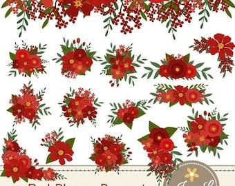 50% OFF Red Flower Bouquet Clipart, Wedding Flowers, Flower Bunches, Floral Arrangement for digital Scrapbooking, Wedding, Birthday Invit