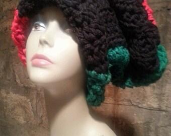 Unisex Rasta Crochet Hat Slouchy