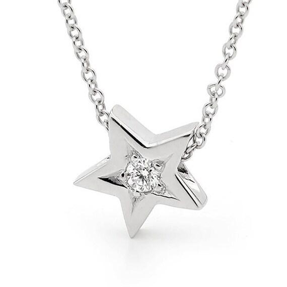 Diamond star necklace small white gold natural diamond star aloadofball Images