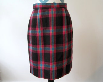 Vintage 1950s Plaid Skirt - Pencil skirt Hot Pink, Turquoise, Black, Yellow - Wool - Made in USA - School Girl Preppy  - Medium