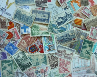 French Stamps - 100 Stamps from France for Collecting, Paper Crafts, Collage, Card Making, Jewelry, Decoupage, etc.