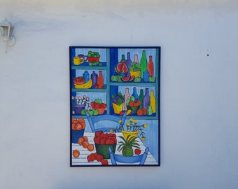 1991  Colorful  Expressionist Painting  By Shirgen Cotterall.