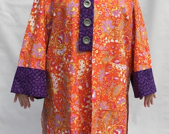 Orange handmade Linen Coat mid-weight size 22/24/26 3X purple accents Happy one-of-a-kind