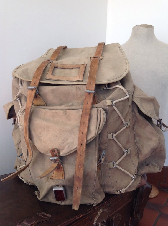 Vintage 1960s 60s French Trigano Sherpa metal frame khaki green canvas leather backpack rucksack extra large hiking walking rugged equipment