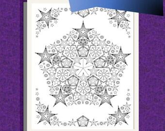 Star Mandala #2, coloring page, Star Mandala coloring page, adult coloring page, printable coloring page, downloadable page, printable star