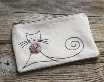 Grey Cat Cosmetic Bag, Hand Embroidered Cat Zipper Pouch, Gift for Cat Lovers