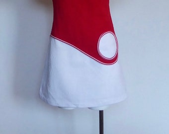 Vintage Mod mini dress. Space age 1960. Scooter style. Red and white polyester knit. round patch pocket. Futuristic. Vintage sports