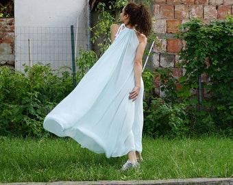 Maxi Silk Dress, Wedding Boho Dress, Summer Dress, Loose Oversized Dress, Open Back Dress, Bridesmade Dress, Party Dress