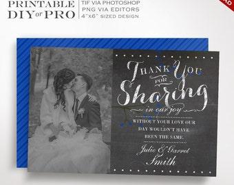Wedding Thank You Template - Chalkboard Wedding Photo Thank You Notes - Printable DIY Blackboard Berreis Wedding Editable Custom Photograph