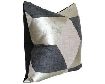 Kubus Argent Silver & Black Metallic Geometric Designer Pillow Cover with Black Velvet on Back- Custom Made-to-Order