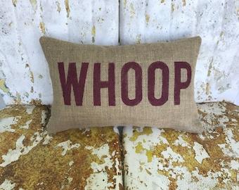 Texas Aggies WHOOP Aggie Pillow Collegiate Decor Burlap Decorative Throw Pillow Custom Color Available Gift Home Decor