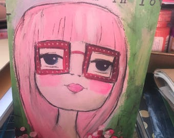 Note cards, set of 5, Friday I'm in Love, pink haired girl.