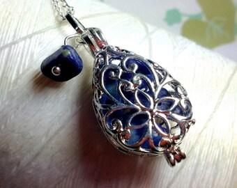 Worry Locket - lapis teardrop locket / locket necklace / silver locket / lapis necklace / floating locket / memory locket /living locket