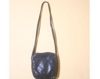 Vintage 1980s Black Ganson Double Strap Bucket Soft Leather Purse