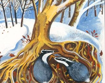 Badgers In Winter greetings card