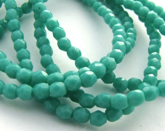 Opaque Turquoise 3mm Facet Round Czech Glass Fire Polished Beads 50pc #2663