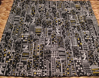 """14"""" x 14""""Pillow COVER - Celebrate Joys of City Living with Urban white Highrise Buildings Yellow windows on Black Background"""