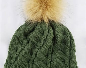 Cable Knit Beanie with Removable Pom Pom