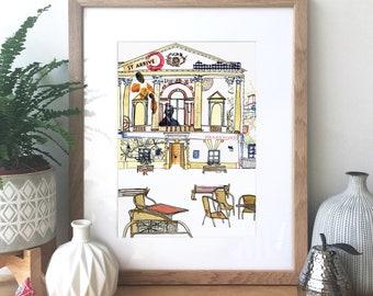 Bath - Roman Baths, England - Ink, watercolour and collage illustration