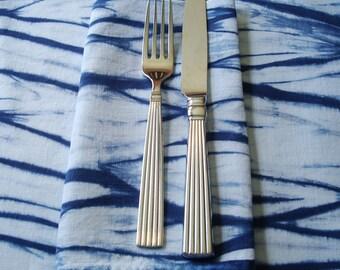 """Blue Shibori Napkins, Organic Napkins, Hemp Cloth Dinner Napkins, 18"""" square, Modern Table Decor"""