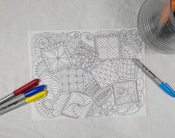 Square Sampler Coloring Page Digital Download Zentangle ZIA