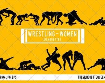 Woman Wrestling silhouette, Female Wrestling clipart,  Girl Wrestling sports vector, Girls Svg, png, eps,   jpg