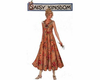 Uncut Daisy Kingdom, Simplicity 7551, Dress, Sizes 12, 14, 16, Mid-Calf, Buttoned Front, Flared Pleated Skirt, Raised Waistline, Vintage