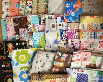 Girls Japanese Kawaii Fabric DESTASH LOT 9 Kids Quilting Cotton and Linen Scraps, Fat Quarters and Larger Ballerinas, Flowers. Rare, HTF