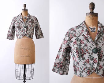 1950 tapestry jacket. 50's floral blazer. tailored. Tan, pink, green. small.