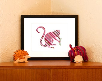Banana Grabber Striped Monkey Art Print on 100% Recycled Paper (Free Shipping in US)