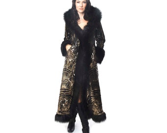 Baroness Gold Art Deco Sequin with Back Faux Fur Coat