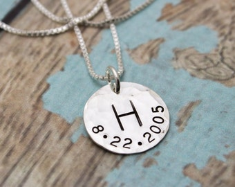 Mother or Grandmother Charm Necklace with Initial and Birthdate Sterling Silver  Personalized Gift Hand Stamped Jewelry