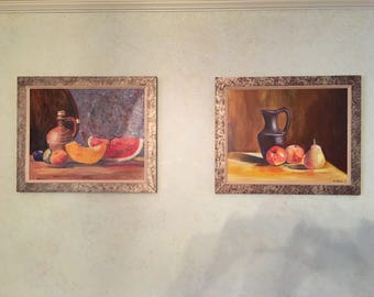 """Set of two pictures.   Still Life.  Acrylic painting on canvas from artist George Krane. Size 20"""" x 16"""""""