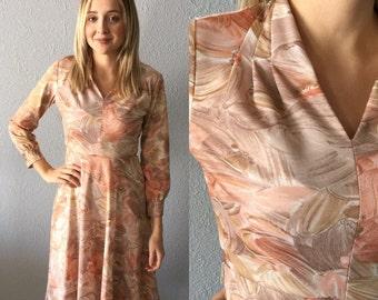 1970's Floral Polyester Bohemian Midi Sears Dress