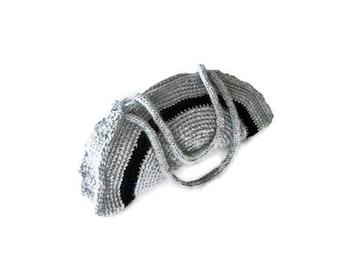 Crochet Bag, Clutch, Colorful, Gray, Black,  Shabby, Chic, Circle, Striped, Trendy,Romantic, Summer, Striped Handbag, Retro,