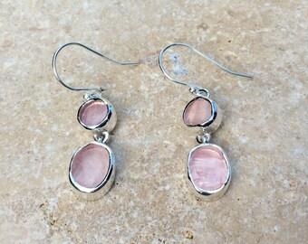 Raw Rose Quartz Silver Drop Earrings, Gemstone Earrings, Double Stone Earrings, Raw Rose Quartz Drops, Raw Stone Silver Earrings