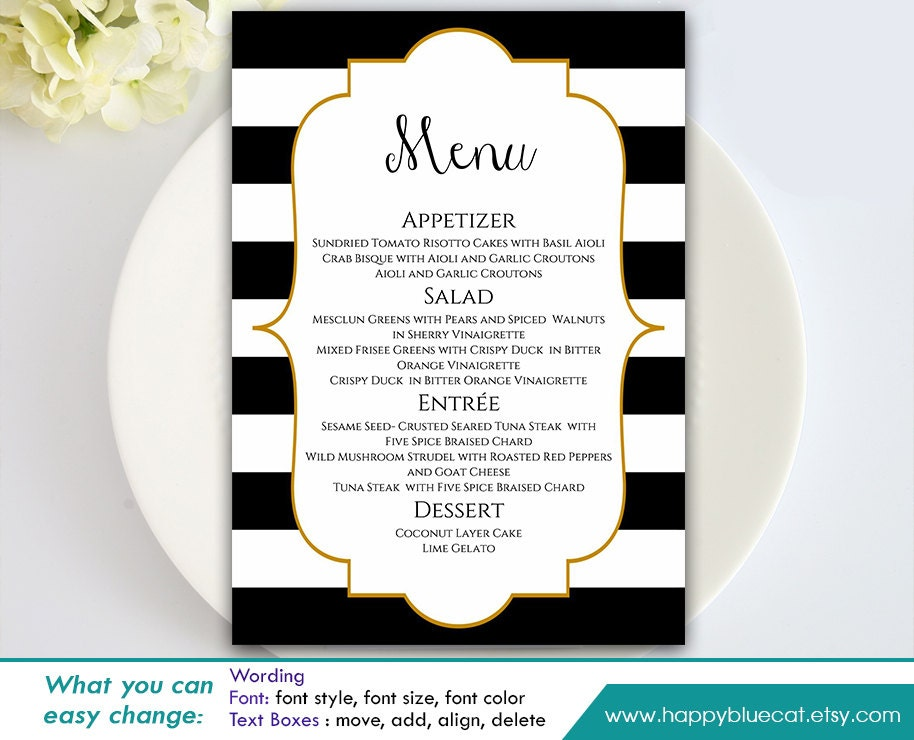 Diy printable wedding menu template instant download for Menu templates for weddings
