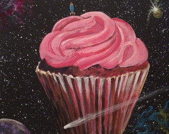 Space Cake.....fine art with a twist/planet cupcake