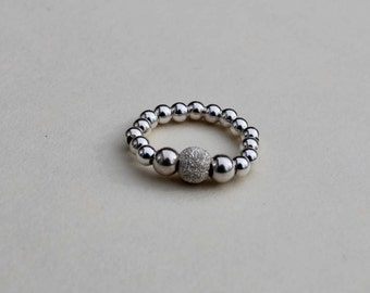 Sterling Silver Ring - Elasticated Ring - Stretch Ring - Bead Ring - Silver Ring - Women's Ring - Gift For Her - Stack Ring - Stacking Ring