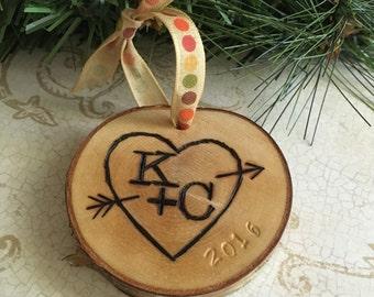 Birch Bark Ornament, Wedding Ornament, Holiday Ornament, Wedding Party Gift, Wedding Favors, Commemorative Ornament, Custom Ornament