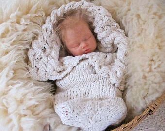 Baby Knitting Pattern Heirloom Organic Cabled Bunting, Newborn Cocoon