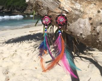 Dream Catcher Earrings - Black/Pink Dreamcatcher - Long Boho Earrings - Colorful Dangle Bohemian Earrings - Feather Earrings - Hippie
