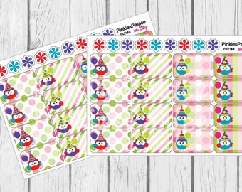 Birthday Half Box Planner Stickers Owls Planner Stickers set of 16 PS218a